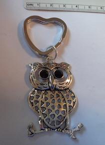 Pewter Sorority Chi Omega Large Owl with heart Keyring