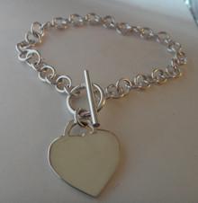"8.25"" Round Rolo 14g Sterling Silver Heart Charm Bracelet"