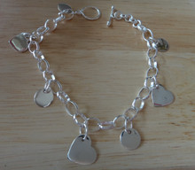"""7.5"""" Sterling Silver 9g Engravable with 3 Hearts & 4 Round Charm Bracelet"""