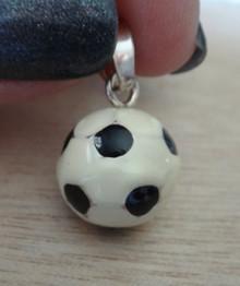 15mm Black & White Enamel Soccer Ball Sterling Silver Charm