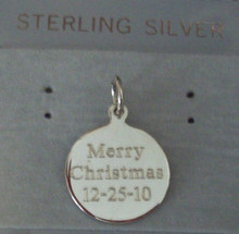 says Merry Christmas 12-25-10 on front & Love Grandma on back Sterling Silver Charm