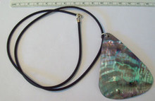 """20"""" Sterling Silver & Abalone Tri Shell Black Necklace"""