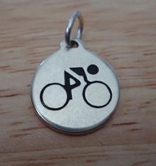 15mm Engravable Round says Biking Cycling Bike Riding Sterling Silver Charm