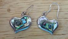 Colorful Heart shape Abalone Sterling Silver Earrings
