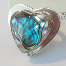 size 8 Sterling Silver 10g Lg Heart shape Abalone Ring