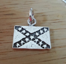 14x13mm Flat Dixie Rebel Confederate Flag Sterling Silver Charm