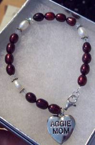 """7"""" to 9"""" Texas A&M Aggie Mom FWP Sterling Silver Charm Bracelet"""