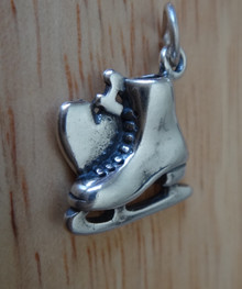 15x15mm say I Heart Love Ice Skate Skater Sterling Silver Charm