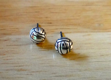 Tiny 6mm Volleyball Ball Stud Sterling Silver Earrings