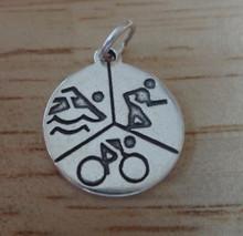18mm Running Swimming Biking Triathlon Sterling Silver Charm