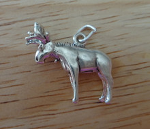 3D 18x21mm Young Deer Realistic Moose Sterling Silver Charm