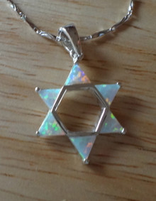 """18"""" Sterling Silver Lab Opal Star of David Charm Chain"""