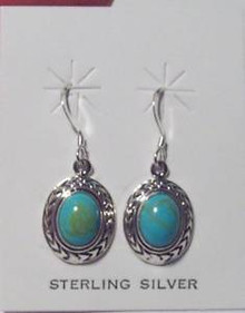 Decorated Oval Turquoise Color stone Sterling Silver Wire Earrings