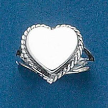 size 5, 6, 8, or 9 Sterling Silver Rope Edge Small Heart Band Ring