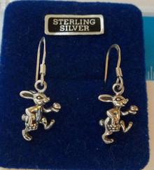Easter Rabbit Bunny w/ Egg Basket Sterling Silver Charm Earrings