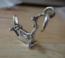 14x16mm Recumbent Exercise Bicycle Bike Sterling Silver Charm