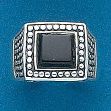 size 6 7 or 8 Lg 15 mm 10g Square Black Onyx Sterling Silver Ring
