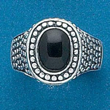 size 6 7 8 or 9 Lg 7g Oval w/ Dots Black Onyx Sterling Silver Ring