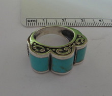 size 6, 8, or 9 Sterling Silver 10 grams XLarge 3 Curvy Turquoise Ring
