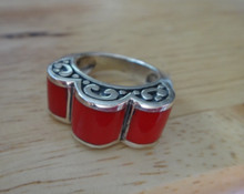 size 6 or 7 Sterling Silver 10-11 grams XLarge 3 Curvy Red Stone Ring