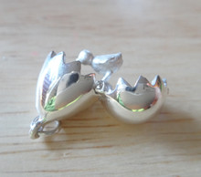 20x13mm 3D Movable Egg & Baby Chick Sterling Silver Charm