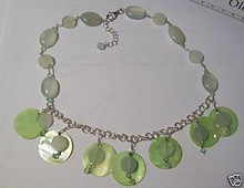 """17-19"""" Adjustable Sterling Silver Lime Green Mother of Pearl Stone Crystal Necklace"""