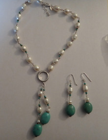 """16-18"""" Pearl Sterling Silver Turquoise Necklace Earring"""