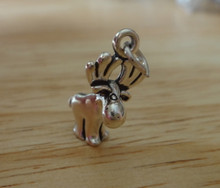 15x19mm 3D Whimsical Moose Sterling Silver Charm