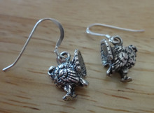 3D Thanksgiving Turkey on wires Sterling Silver Earrings