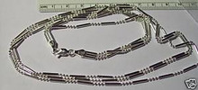 """16"""" Sterling Silver 3 Strand 3 & 1 Bead 4mm wide Chain"""