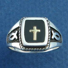 sizes 6 to 12.75 14K Gold Cross & Rectangle Sterling Silver Ring