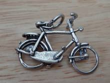3D Detailed Large 10 speed Bike Sterling Silver Charm