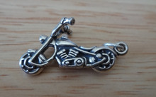 3D 26x14mm Detailed Motorcycle Chopper Sterling Silver Charm