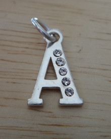10x16mm with 5 Clear Crystals Alphabet Letter Initial A Sterling Silver Charm