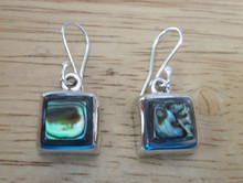 3 pc Sterling Silver Square Abalone Pendant Earring Set