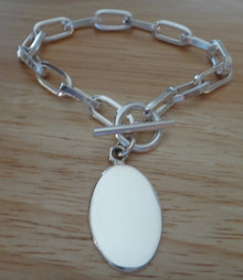 """7"""" Heavy 23g Sterling Silver 30x17mm Oval Charm Bracelet toggle clasp"""