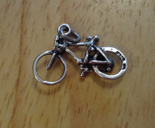 3D Small 10 speed Bicycle Bike Sterling Silver Charm