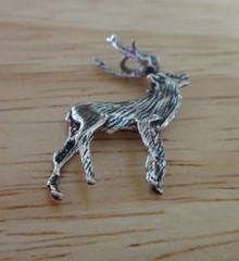 3D 21x23mm Realistic Caribou Elk Deer Sterling Silver Charm