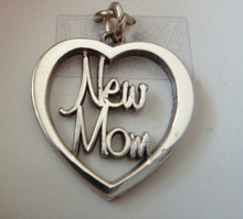 Cut Out says New Mom in Heart Sterling Silver Charm