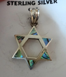 20x40mm Hvy Star of David Abalone Pendant Sterling Silver Charm
