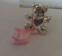 Sterling Silver 16g Pink Baby Girl Bear Pacifier Holder
