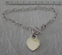 """7"""", 7.5"""", 8"""", or 8.25"""" 6x8mm Oval Link Sterling Silver with 22x18mm Heart Charm Bracelet"""