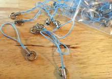Set of 30 Lt Blue Silver Cord Cell Phone Lanyards for a Charm