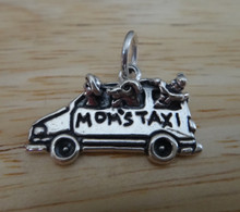 22x14mm Van says Mom's Taxi with Kid & Dog Sterling Silver Charm