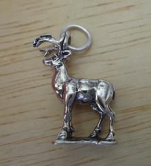 3D 14x18mm Reindeer Deer Buck w/ Antlers on base Sterling Silver Charm