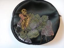 Black Gold Chinese Fabric Jewelry Charm Gift Zipper Bag