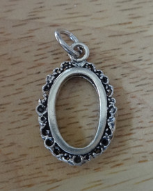 15x23mm Fancy 2 Picture Photo Oval Frame Sterling Silver Charm
