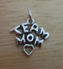 18x15mm Says Team Mom and has a Heart Sterling Silver Charm