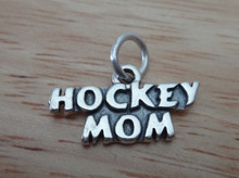 20x15mm says Hockey Mom Sterling Silver Charm