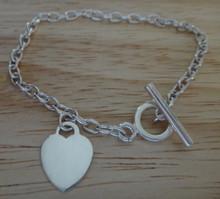 "6.5"" Sterling Silver Heart Toggle 3mm Charm Bracelet"